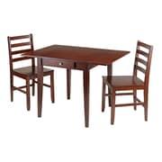 Winsome – Ensemble 3 pièces collection Hamilton avec table à manger à abattant et 2 chaises à dossier en barreaux d'échelle