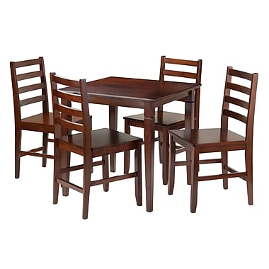 Winsome Kingsgate 5-Piece Dining Table with 4 Hamilton Ladder Back Chairs