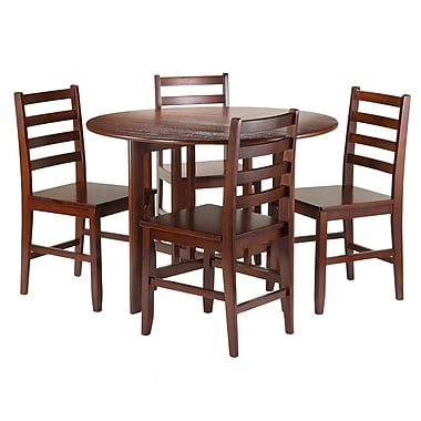 Winsome Alamo 5-Piece Round Drop Leaf Table with 4 Hamilton Ladder Back