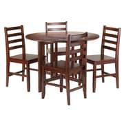 Winsome – Ensemble 5 pièces de la collection Alamo avec table ronde à abattant et 4 chaises Hamilton à dossier à barreaux