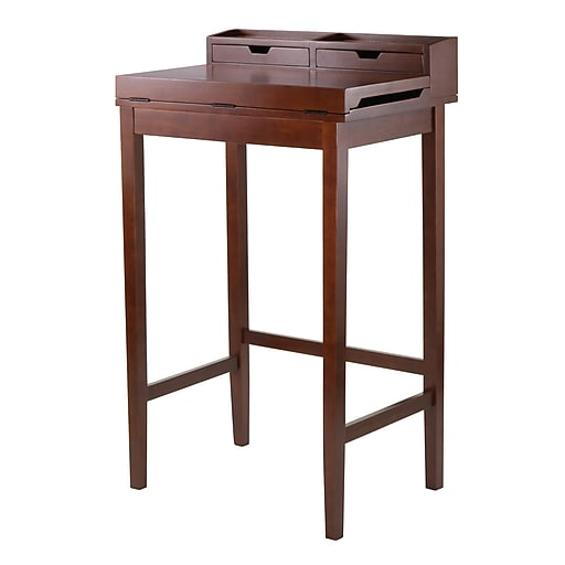Winsome High Desk with Flip-out Writing Area and Hutch, Walnut (94628)