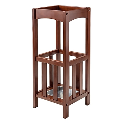 Winsome Rex Umbrella Stand with Metal Tray, Walnut (94712)