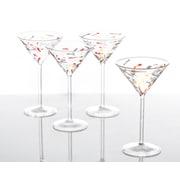 Abigails Palazzo Confetti 6 Oz. Martini Glass (Set of 4); Red
