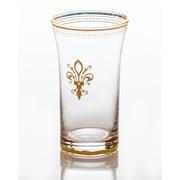 Abigails 12 Oz. Fleur de Lis Glass w/ Trim (Set of 4); Clear