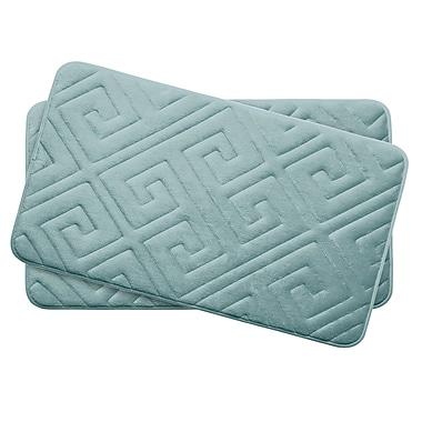Bath Studio Caicos Small Premium Micro Plush Memory Foam Bath Mat Set (Set of 2); Aqua