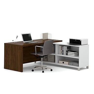 Pro-Linea 120885-30 L-Desk, White & Oak Barrel