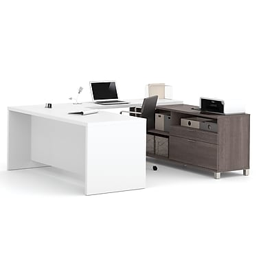 Pro-Linea – Bureau en U, fini écorce grise et blanc