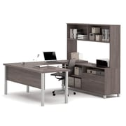 Pro-Linea U-Desk with Hutch, Bark Grey