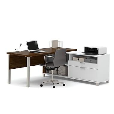 Pro-Linea – Bureau en L, blanc et chêne