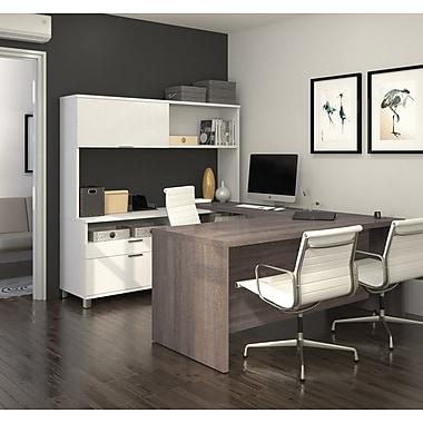 Pro-Linea - Bureau en U avec étagère, blanc et gris écorce (120880-47)