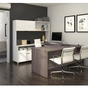 Pro-Linea U-Desk with Hutch, White & Bark Grey