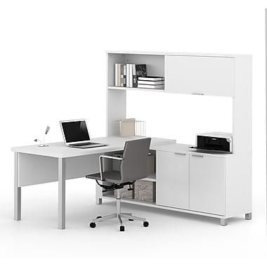 Pro-Linea - Bureau en L 120864-17 avec étagère, blanc