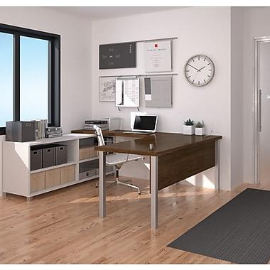 Pro-Linea – Bureau en U, blanc et chêne