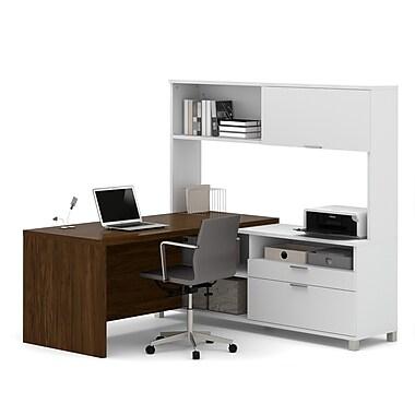 Pro-Linea – Bureau en L avec étagère, fini blanc et chêne