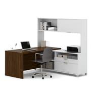 Pro-Linea L-Desk with Hutch, White & Oak Barrel