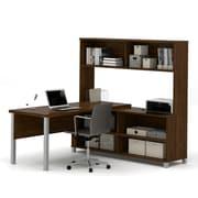 Pro-Linea L-Desk with Hutch, Oak Barrel