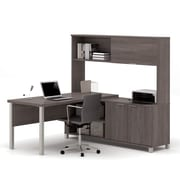 Pro-Linea 120864-47 L-Desk with Hutch, Bark Grey