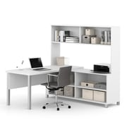 Pro-Linea L-Desk with Hutch, White