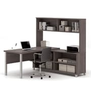 Pro-Linea L-Desk with Hutch, Bark Grey