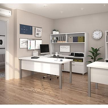 Pro-Linea – Bureau en U avec étagère, blanc