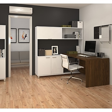 Pro-Linea 120884-30 – Bureau en L avec étagère, fini blanc et chêne