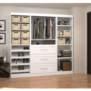 "Pur by Bestar 86"" Classic Kit with Cubbies & 36"" Drawers, White"