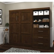 """Pur by Bestar 95"""" Full Wall Bed Kit with 36"""" Drawers, Chocolate"""
