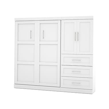 Pur par Bestar – Ensemble avec lit deux places mural 95 po avec tiroirs 36 po et portes, fini blanc