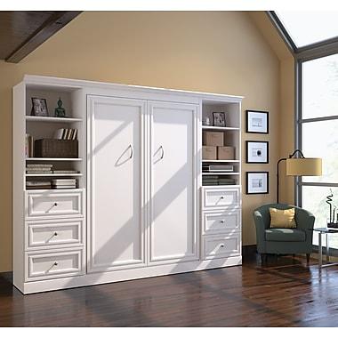 Versatile par Bestar – Ensemble avec lit deux places mural 109 po avec 2 espaces de rangement 25 po et 6 tiroirs, fini blanc