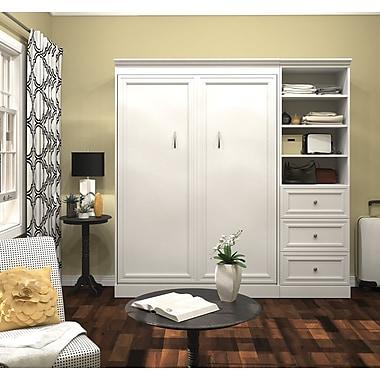 Versatile par Bestar – Ensemble avec lit deux places mural 84 po avec espace de rangement et tiroirs 25 po, fini blanc