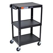 """Luxor Steel Adjustable Height AV Cart, 3 Shelves, 25"""" x 19"""" x 22"""""""
