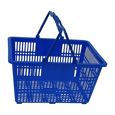 Plastic Handle Hand Shopping Basket, Blue, 10/Pack (38-4401-BLUE)