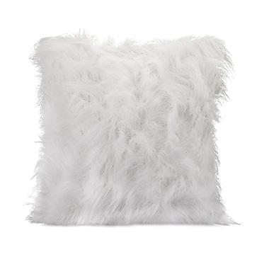 Woodland Imports Nikki Chu Faux Fur Throw Pillow; White