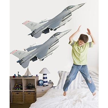 Wallhogs Dual F-16' Fighting Falcons Cutout Wall Decal; 15.5'' H x 48'' W