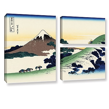 ArtWall Mt Fuji in the Sunset by Katsushika Hokusai 3 Piece Painting Print on Wrapped Canvas Set