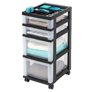 IRIS® 4 Drawer Storage Cart, Black (116827)