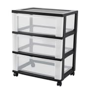 IRIS® 3 Drawer Wide Plastic Storage Drawer Cart, Black (124007)
