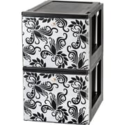 IRIS® USA, Inc. Stacking File Storage Drawer with Design, 2 Pack (122062)