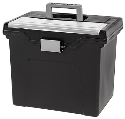 IRIS® Portable Letter Size File Box with Organizer Lid, 4 Pack (110977)