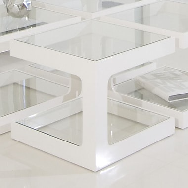 Pangea Home Miley End Table; White