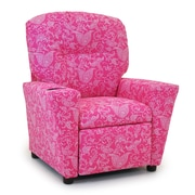 KidzWorld Small Paisley Candy Pink Kids Recliner w/ Cup Holder