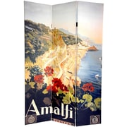 Oriental Furniture 72'' x 48'' Double Sided Amalfi and Riviera 3 Panel Room Divider