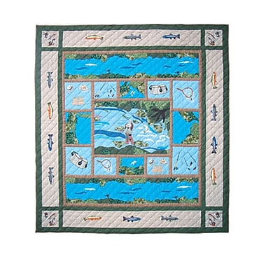Patch Magic Fly Fishing Quilt; Full / Queen