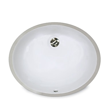 Nantucket Sinks Great Point Ceramic Oval Undermount Bathroom Sink w/ Overflow; White