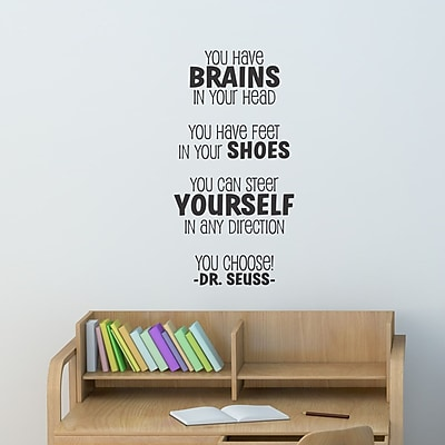 Belvedere Designs LLC Brains Dr Seuss Vertical Wall Quotes Decal