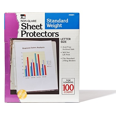 Charles Leonard Non-Glare Sheet Protectors, Polypropylene, Clear, 8-1/2