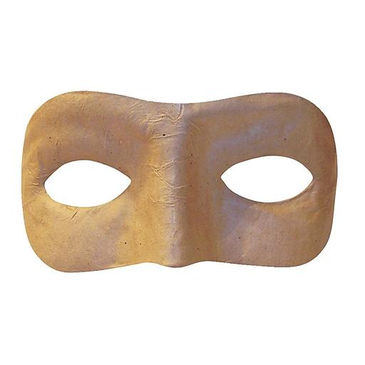 """Papier Mache Half Mask, Natural Color, 6"""" x 2-3/4"""" (CK-4193)"""
