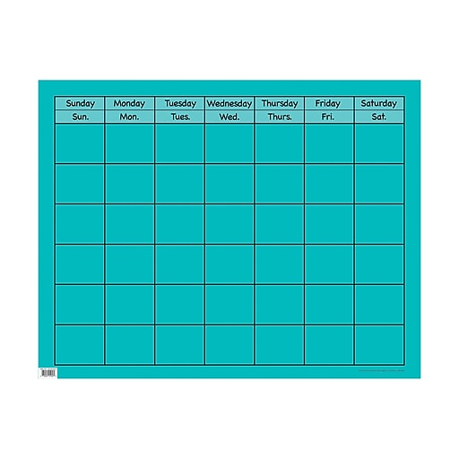 """28 1/2"""" x 22 1/4"""" Large Calendar Chart Turquoise (CTP1056)"""