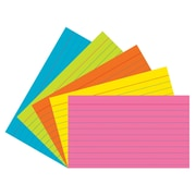 """Pacon® Index Cards, 3""""x5"""", Ruled, Super Bright Assortment, 75 cards (PAC1726)"""