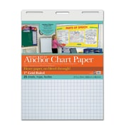 "Pacon Heavy Duty Anchor Chart Paper, 27"" x 34"", White, 1"" Grid Rule, 25 Sheets/Pad (PAC3372)"